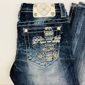 Miss Me Jeans Fleur De Lis bling sequin bootcut 27